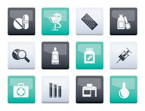 Pharmacy and Medical icons over color background. Vector icon set stock illustration