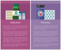 Pharmacy and Medication Items Vector Illustration. Pharmacy and medication items useful for peoples organism. Curing medicaments in containers. Blisters capsules vector illustration