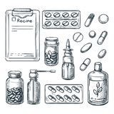 Pharmacy, medicine and healthcare sketch illustration. Pills, drugs, bottles, prescription design elements. Pharmacy, medicine and healthcare sketch illustration royalty free illustration
