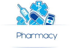 Pharmacy medicines design. With copy space isolated on white background Royalty Free Stock Photography