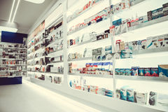 At the pharmacy. Modern pharmacy with variety of medications and cosmetics for everyone Royalty Free Stock Photography