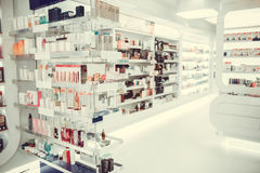 At the pharmacy. Modern pharmacy with variety of medications and cosmetics for everyone Stock Photography