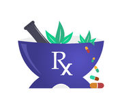 Pharmacy Mortar and Pestle Logo. A vector drawing for pharmacy mortal and pestle design with falling capsules in white background Stock Photo