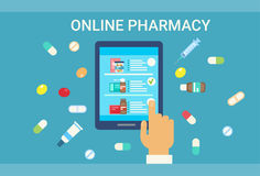 Pharmacy Online Medical Consultation Doctor Health Care Clinics Hospital Service Medicine Network Banner Royalty Free Stock Image