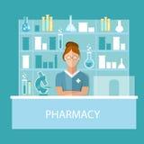Pharmacy pharmacist  standing in drugstore selling pills Stock Photos
