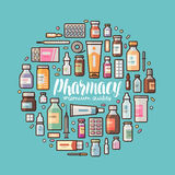 Pharmacy, pharmacology banner. Medical supplies, drugs, medicine, medication set icons or symbols. Lettering vector vector illustration