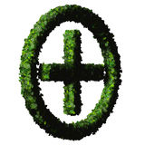Pharmacy Plus with ring, sign made from green leaves. Beautiful graphic made of green leaves on gradient background Royalty Free Stock Photography