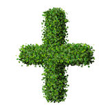 Pharmacy Plus with ring, sign made from green leaves. Beautiful graphic made of green leaves on gradient background Stock Image