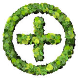 Pharmacy Plus with ring, sign made from green leaves. Beautiful graphic made of green leaves on gradient background Royalty Free Stock Photo