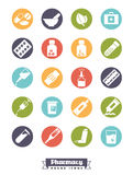 Pharmacy ronud glyph color icons vector set. Royalty Free Stock Photography