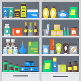 Pharmacy Shelves Background. Vector Royalty Free Stock Images