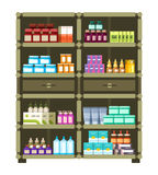 Pharmacy shelves with medical box and bottles for drugs flat vector concept Royalty Free Stock Photos