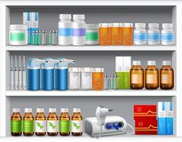 Pharmacy shelves realistic Stock Photo