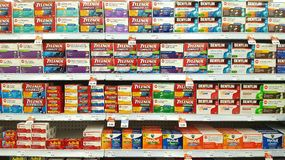 Pharmacy Shelves Royalty Free Stock Photography