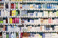 Pharmacy shop interior - cosmetic products Royalty Free Stock Photography