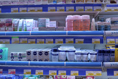 Pharmacy shop interior - cosmetic products Stock Photos
