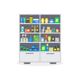 Pharmacy Showcase or Shop Shelves. Vector Royalty Free Stock Photography