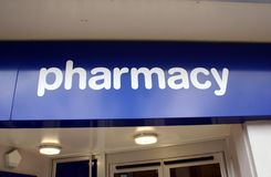 Pharmacy sign. Sign of a drug store or a pharmacy Royalty Free Stock Photos