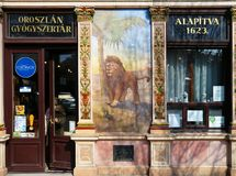 Pharmacy in Sopron, Hungary. Lion`s Pharmacy in Sopron, Hungary. Est. 1623 Royalty Free Stock Photo