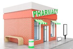 Pharmacy Store with copy space board isolated on white background. Modern shop buildings, store facades. Exterior market. Exterior facade store building. 3D Royalty Free Stock Photography
