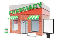 Pharmacy Store with copy space board isolated on white background. Modern shop buildings, store facades. Exterior market. Exterior facade store building. 3D Stock Images