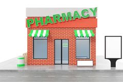 Pharmacy Store with copy space board isolated on white background. Modern shop buildings, store facades. Exterior market. Exterior facade store building. 3D Royalty Free Stock Photos