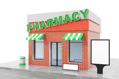 Pharmacy Store with copy space board isolated on white background. Modern shop buildings, store facades. Exterior market. Exterior facade store building. 3D Stock Image