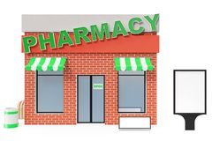 Pharmacy Store with copy space board isolated on white background. Modern shop buildings, store facades. Exterior market. Exterior facade store building. 3D Royalty Free Stock Images