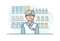Pharmacy store and pharmacist. The seller in a pharmacy or beauty store. A woman sells medicines and pills. Pharmaceuticals and sale of medicinal preparations stock illustration
