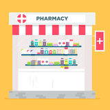The pharmacy store vector flat illustration. Classical styled aphotheke building.  Vector flat illustration. Very easy to edit Royalty Free Stock Photos