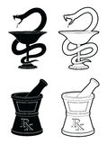 Pharmacy Symbols. Illustration of pharmacy symbols. One is the Snake and cup symbol and the other is the mortar and pestle symbol. In simple black and white Stock Photos