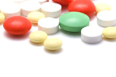 Pharmacy tablets on white macro Stock Photo
