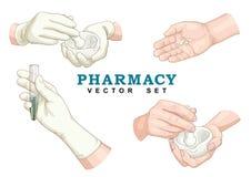 Pharmacy Vector Set. Pharmacy hands Vector Set on white Stock Illustration