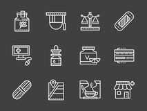 Pharmacy white simple line design icons Stock Images