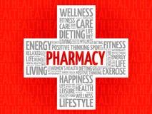 Pharmacy word cloud stock illustration