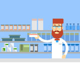 Pharmacy Worker Hold Medicine Pills Tablets Drugstore Interior Royalty Free Stock Images