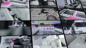 Pharmazeutische Ausrüstungsfunktion Montage des geteilten Bildschirms Medizinische Ampules, Reagenzgläser, pharmazeutisch in eine stock footage