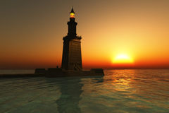 Pharos Lighthouse at Sunset. One of the seven wonders of the world, the Pharos lighthouse at Alexandria
