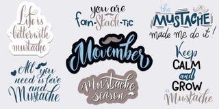 Pharses di Movember Citazioni di motivazione e di promozione tipografia dell'iscrizione Immagine Stock