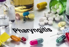 Pharyngitis, Medicines As Concept Of Ordinary Treatment. Conceptual Image royalty free stock photo