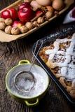Phase baking apple cake from Grandma. Royalty Free Stock Photography