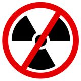 Phase-out and discontinuation of atomic and nuclear power. Symbol of radioactivity is crossed out. Vector illustration royalty free illustration