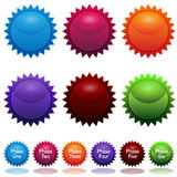 Phase Sun Star Sticker Icon Set Stock Image