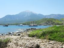 Phaselis bay with yachts kemer turkey Royalty Free Stock Photography