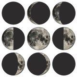 Phasen der Mondvektorabbildung Stockfotografie