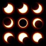 Phases d'éclipse solaire Photographie stock