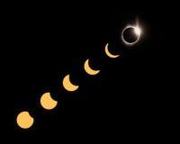 Phases d'éclipse totale photographie stock libre de droits