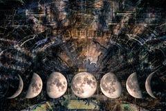 Phases de la lune à la conception futuriste illustration stock