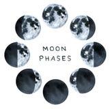 Phases de la lune, collection de couleur d'eau illustration de vecteur