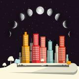 Phases de lune au-dessus de conception plate de ville de nuit illustration stock